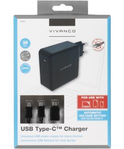 34315_VIVANCO TRAVEL CHARGER TYPE C PORT + DATA CABLE TYPE C 30W FOR NOTEBOOK black