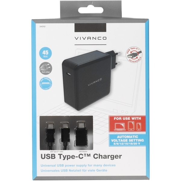 34316_VIVANCO TRAVEL CHARGER TYPE C PORT + DATA CABLE TYPE C 60W FOR NOTEBOOK black