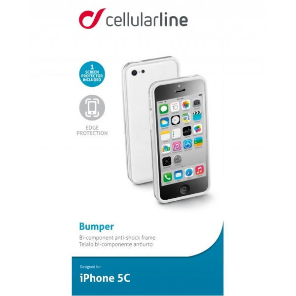 BUMPERIPH5CW_CELLULARLINE BUMPER IPHONE 5C white backcover