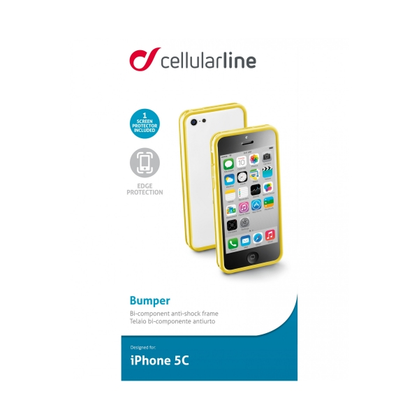 BUMPERIPH5CY_CELLULARLINE BUMPER IPHONE 5C yellow backcover