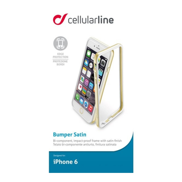 BUMPSATINIPH64_CELLULARLINE BUMPER SATIN IPHONE 6 gold backcover