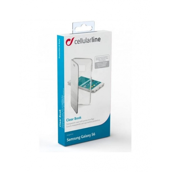 CLEARBOOKGLS6S_CELLULARLINE CLEAR BOOK SAMSUNG S6 silver trans