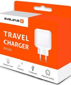 ETC03_EVELATUS TRAVEL CHARGER 2 PORTS 3.4A white