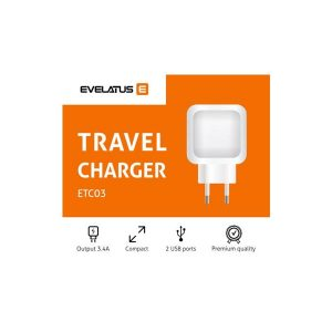 EVETC03BLK_EVELATUS TRAVEL CHARGER 2 PORTS 3.4A black