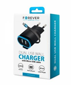 FTC24ABM_FOREVER TRAVEL CHARGER 2.4A + MICRO USB DATA CABLE black
