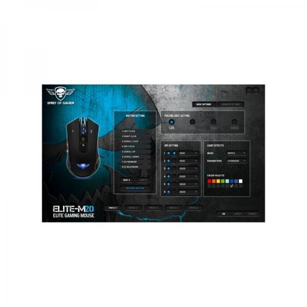 S-EM20BK2_SOG ELITE M20 NEW DESIGN USB Gaming mouse DPI 4000 MAX