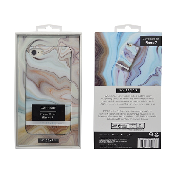 SVNCSCARRA1IP7_SO SEVEN CARRARE MARBLE IPHONE 7 8 brown backcover