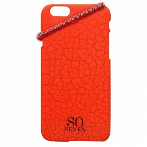 SVNCSFPORIP5_SO SEVEN IPHONE 5 5s Orange Cracked Color +bracelet backcover