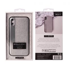SVNCSMPU4IP8_SO SEVEN METALLIC PU IPHONE X XS silver backcover
