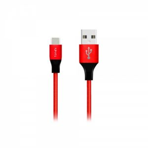 USBTYPECFCFR_FONEX DATA CABLE FABRIC TYPE C SPEED CHARGE 2A 1m red