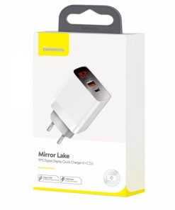 BRA008266_BASEUS TRAVEL CHARGER MIRROR LAKE QUALCOMM 3 2 PORTS (PD TYPE C PORT) 18W with DIPLAY white