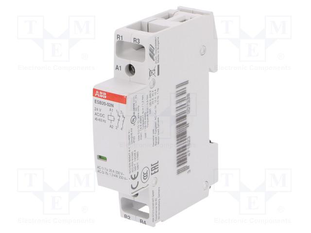 1SBE121111R0102_Contactor:2-pole installation; NC x2; 24VAC; 24VDC; 20A; DIN; ESB