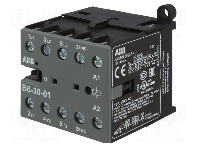 GJL1211001R0011_Contactor:3-pole; NO x3; Auxiliary contacts: NC; 24VAC; 6A; B6
