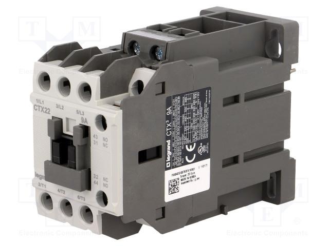 CTX3 3P 9A 1NO1NC  24V DC_Contactor:3-pole; NO x3; Auxiliary contacts: NO + NC; 24VDC; 9A