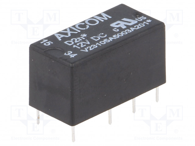 8-1393792-8_Relay: electromagnetic; DPDT; Ucoil:12VDC; 0.5A/125VAC; 1A/30VDC