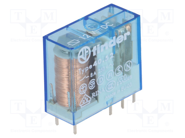 40.52.9.012.0000_Relay: electromagnetic; DPDT; Ucoil:12VDC; 8A/250VAC; 8A/30VDC