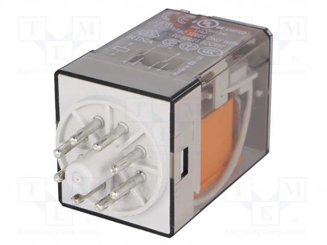 60.12.8.230.0040_Relay: electromagnetic; DPDT; Ucoil:230VAC; 10A/250VAC; 10A/30VDC