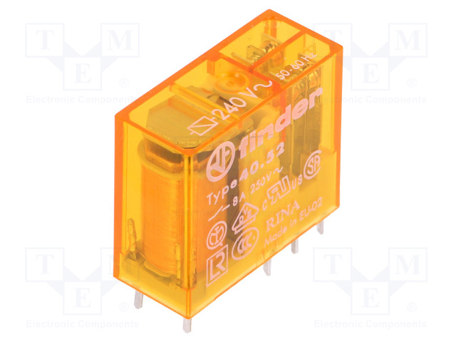 40.52.8.240.0000_Relay: electromagnetic; DPDT; Ucoil:240VAC; 8A/250VAC; 8A/30VDC