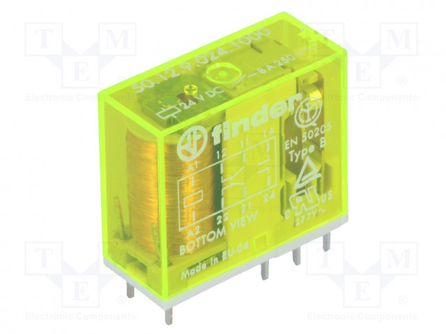 50.12.9.024.1000_Relay: electromagnetic; DPDT; Ucoil:24VDC; 8A/250VAC; 8A/30VDC