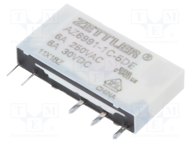 AZ6991-1C-5DE_Relay: electromagnetic; SPDT; Ucoil:5VDC; 6A/250VAC; 6A/30VDC; 8A
