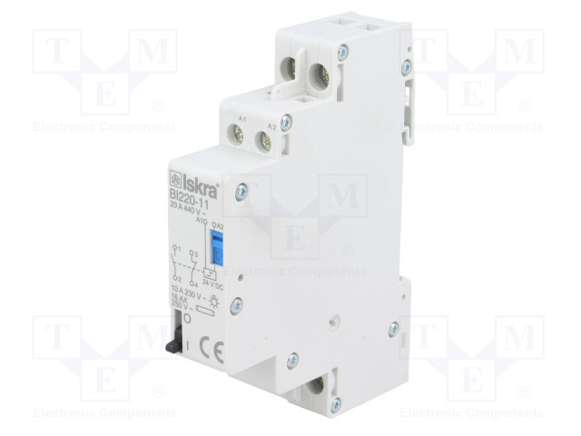 30.070.174_Relay: installation; bistable; NC + NO; Ucoil:24VDC; 17.6x90x65mm