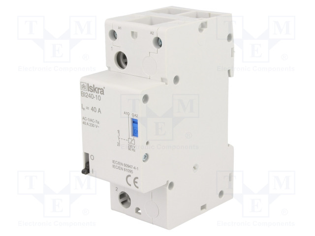 30.075.018_Relay: installation; bistable; NO; Ucoil:230VAC; 35x90x65mm; 40A