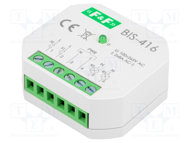 BIS-416 230V_Relay: installation; bistable; NO x2; Mounting: in mounting box