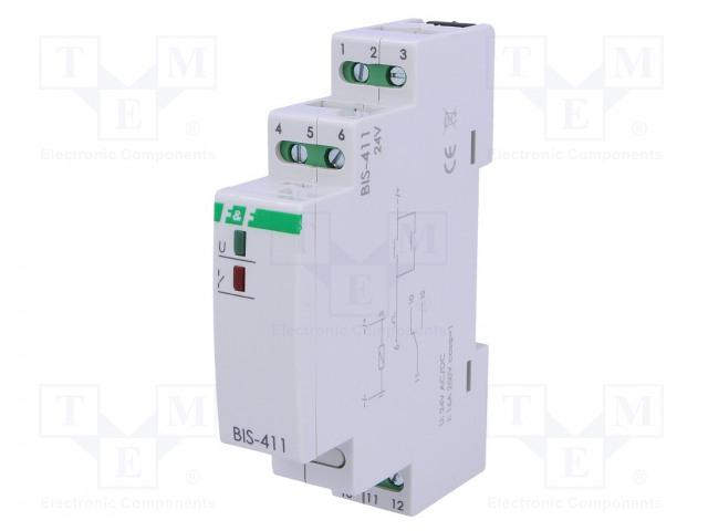 BIS-411 24V AC/DC_Relay: installation; bistable; SPDT; Mounting: DIN; 16A; -25÷50°C