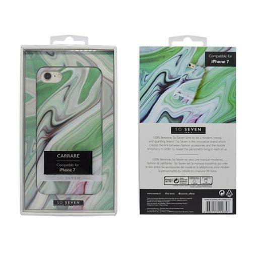 SVNCSCARRA2IP7_SO SEVEN CARRARE MARBLEIPHONE 7 / 8 / SE (2020) green backcover