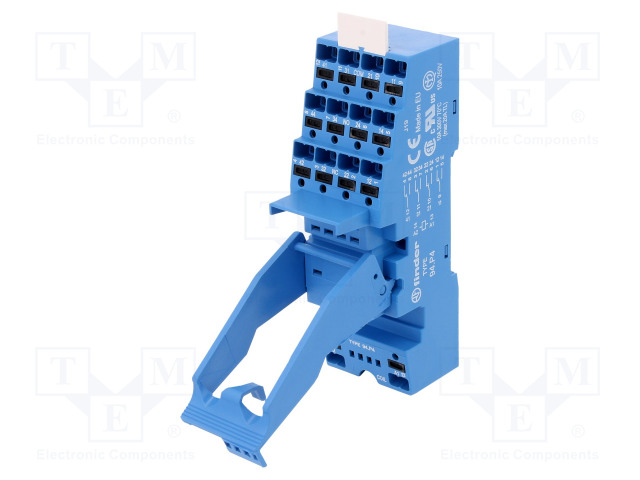 94.P4SPA_Socket; PIN:14; 10A; 250VAC; Mounting: DIN; Leads: spring clamps