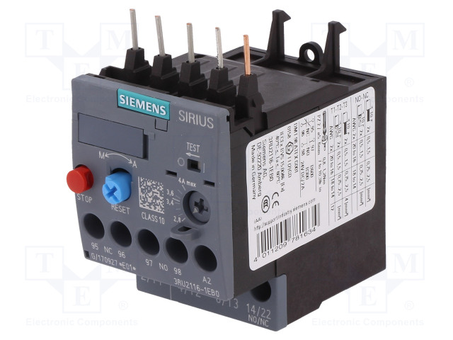 3RU2116-1EB0_Thermal relay; Series:3RT20; Size: S00; Auxiliary contacts: NC