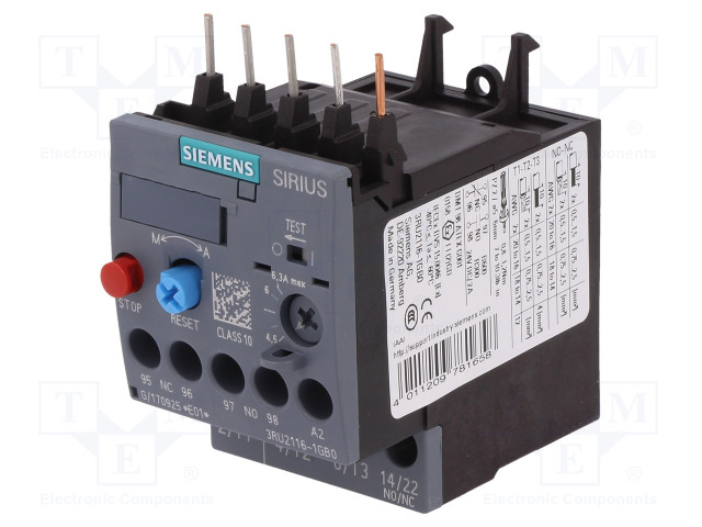 3RU2116-1GB0_Thermal relay; Series:3RT20; Size: S00; Auxiliary contacts: NC