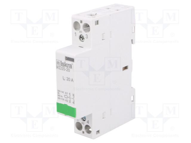 30.046.006_Contactor:2-pole installation; NO x2; 230VAC; 220VDC; 20A; DIN