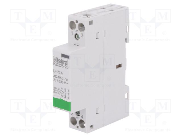 30.046.860_Contactor:2-pole installation; NO x2; 230VAC; 220VDC; 25A; DIN