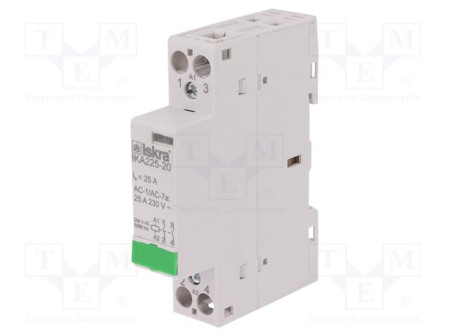 30.046.714_Contactor:2-pole installation; NO x2; 230VAC; 25A; DIN; IKA