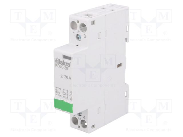 30.046.024_Contactor:2-pole installation; NO x2; 24VAC; 24VDC; 20A; DIN; IKD