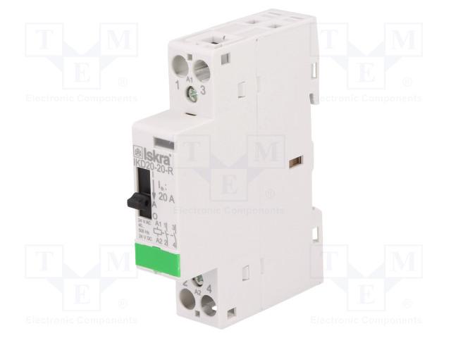 30.046.506_Contactor:2-pole installation; NO x2; 24VAC; 24VDC; 20A; DIN