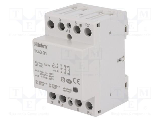 30.045.086_Contactor:4-pole installation; NC + NO x3; 230VAC; 220VDC; 40A