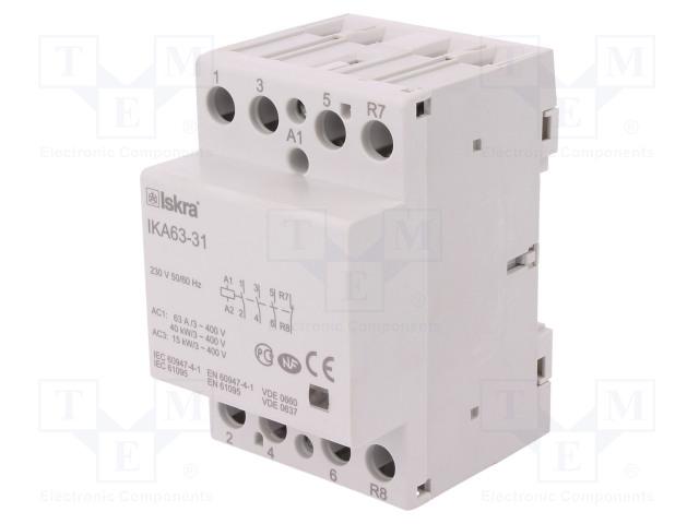 30.045.533_Contactor:4-pole installation; NC + NO x3; 230VAC; 63A; DIN; IKA