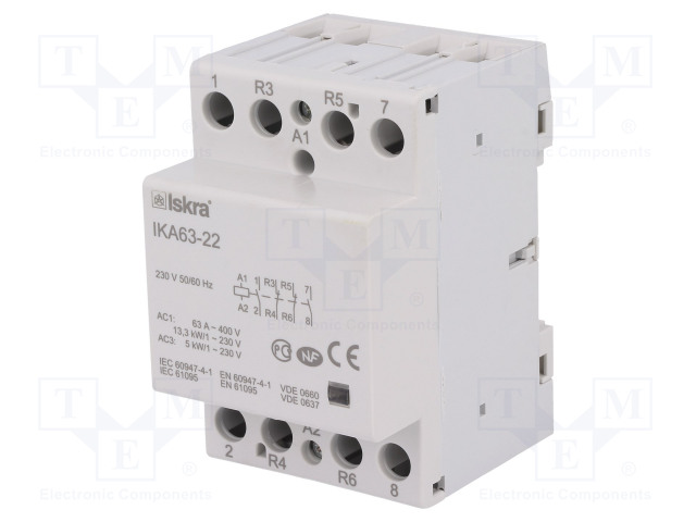 30.045.523_Contactor:4-pole installation; NC x2 + NO x2; 230VAC; 63A; DIN