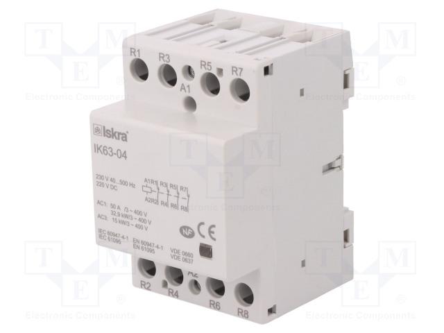 30.045.610_Contactor:4-pole installation; NC x4; 230VAC; 220VDC; 63A; DIN; IK