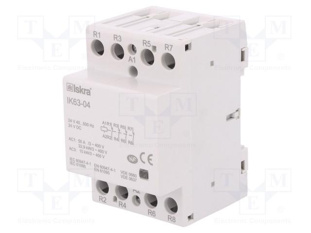 30.045.611_Contactor:4-pole installation; NC x4; 24VAC; 24VDC; 63A; DIN; IK