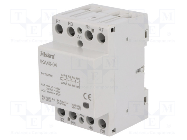 30.045.604_Contactor:4-pole installation; NC x4; 24VAC; 40A; DIN; IKA
