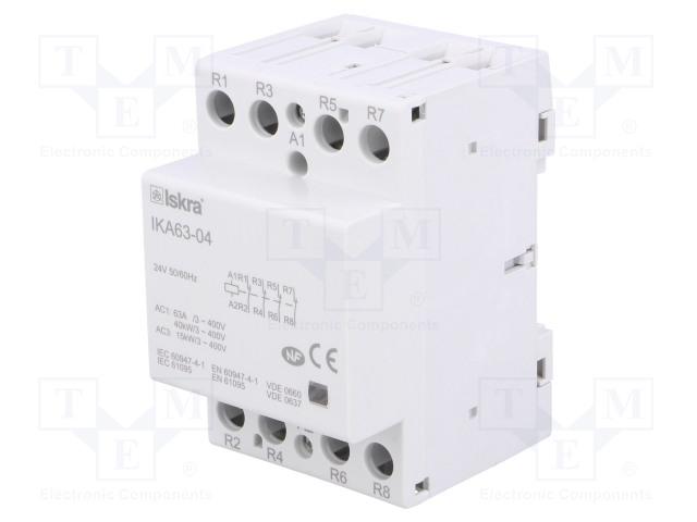 30.045.606_Contactor:4-pole installation; NC x4; 24VAC; 63A; DIN; IKA