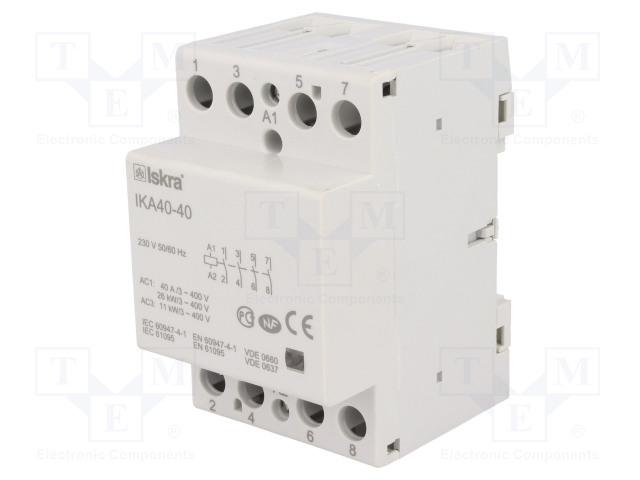 30.045.518_Contactor:4-pole installation; NO x4; 230VAC; 40A; DIN; IKA