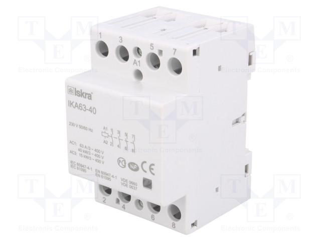 30.045.522_Contactor:4-pole installation; NO x4; 230VAC; 63A; DIN; IKA