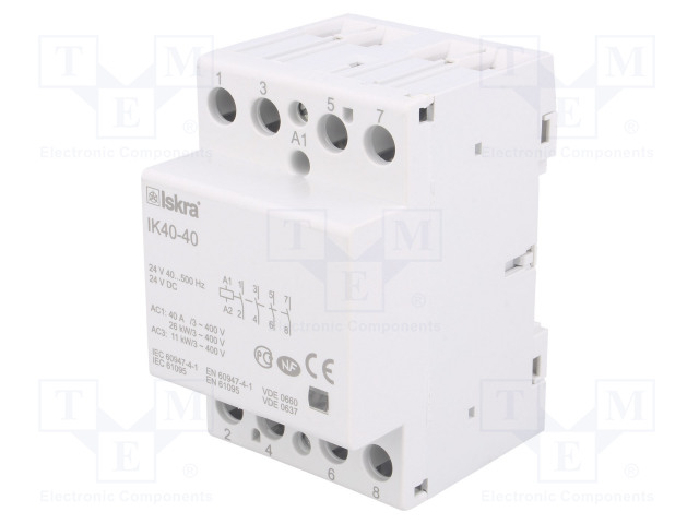 30.045.022_Contactor:4-pole installation; NO x4; 24VAC; 24VDC; 40A; DIN; IK