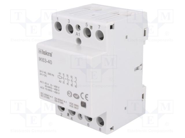 30.045.187_Contactor:4-pole installation; NO x4; 24VAC; 24VDC; 63A; DIN; IK