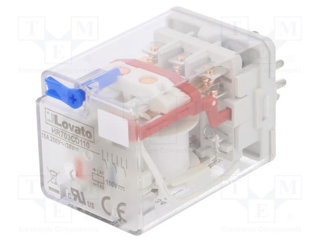 HR703CD110_Relay: electromagnetic; 3PDT; Ucoil:110VDC; 10A/250VAC; 10A/30VDC