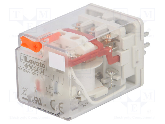 HR703CA024_Relay: electromagnetic; 3PDT; Ucoil:24VAC; 10A/250VAC; 10A/30VDC